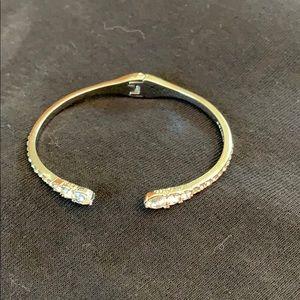 Givenchy silver tone crystal cuff bracelet